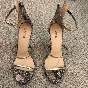 Bebe snakes skin heels